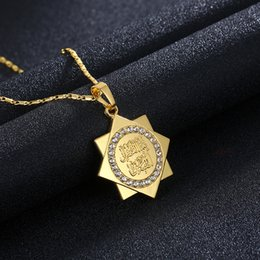 Black diamonds cross necklace online shopping - Top grade new product K gold Islamic totem diamond male fashion necklace sweater chain A246