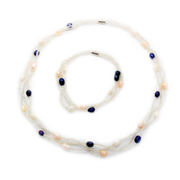 $enCountryForm.capitalKeyWord NZ - Fashion charm jewelry natural freshwater pearl jewelry set Magnetic buckle pearl necklace and bracelet set wholesale