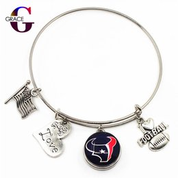 Discount football christmas gifts - 10pcs Fashion Heart Love Charms With Football Sports Ginger Glass Snap Buttons Adjustable Expandable Bangle Bracelet For