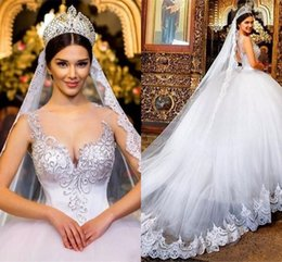 Wedding dresses sWeetheart neckline straps online shopping - Ball Gown Wedding Dresses Sheer Neckline Lace Applique Beads Crystal Sweetheart Hollow Back Court Back Plus Size Formal Bridal Gowns