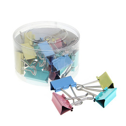 paper file clips UK - 24Pcs Colorful Metal Binder Clips File Paper Clip Office Supplies 41mm Width