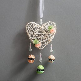 $enCountryForm.capitalKeyWord NZ - Handmade Rattan Weaving Dreamcatcher White Love Heart Wind Chimes Dream Catcher Pendant Wall Hanging Car Decoration Wedding Party Gift