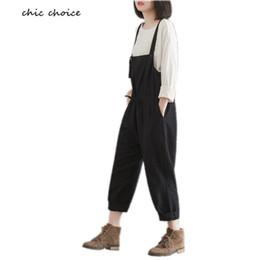 4c329521ef9b Wholesale- M-XXXL Real Photo Fashion Harm Women Pants Plus Size Ladies  Jumpsuit Overalls Linen Loose Rompers Black Cotton Trousers