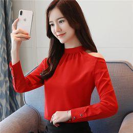 c688ebffcefa Discount new korean chiffon blouse - Autumn New Women Blouses Fashion Leaky  Shoulder Chiffon Shirt Korean