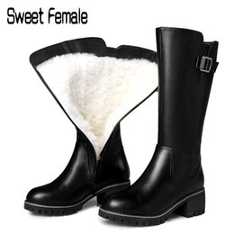 russian snow boots 2019 - Sweet Female Real wool snow boots women knights boots Russian winter warm shoes large size Genuine leather motorcycle C0