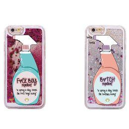 $enCountryForm.capitalKeyWord Canada - Sexy Repellent Spray FBoys Bitch Away Heart Quicksand Glitter Liquid Hard Case For iPhone 7 7Plus 6 6S 6Plus 5 8 8Plus X