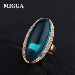 Precious gold online shopping - MIGGA Elegant Green Semi Precious Stone Ring for Women Ladies Rose Gold Color Party Gift Accessories