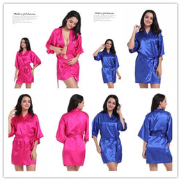 China High quality 12 Colours Women's dressing gown silk kimono robe Elegant solid color gown summer sexy short bathrobe 3pcs suppliers
