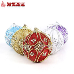 $enCountryForm.capitalKeyWord NZ - 6pcs Christmas Tree Hanging Beads Chain Balls Diameter 8cm Upscale Decorations Crystal Ball Xmas Home Party Wedding Ornament