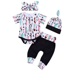 $enCountryForm.capitalKeyWord NZ - 2018 INS baby girl Toddler Summer 4piece set Outfits Feather print Short sleeve Romper pants tights hats headband Cotton Clothes clothing