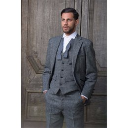 Stylish Suit Image Australia - Custom Made Grey Tweed Formal Men Suit new Slim Fit Classic Stylish Custom Mens Tuxedo 3 Piece Wedding Suits (Jacket+Pants+Vest)