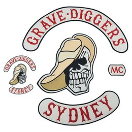 Bikers Back Patches Australia - GRAVE DIGGERS SYDNEY Motorcycle club Patch MC Embroidered Full Back Large Pattern For Rocker Biker Vest Patches for clothing Free Shipping