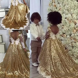 green lace sequin NZ - Bling Gold Sequins Flower Girl Dresses Lace Appliques Long Sleeve Gir Sleeveless Hi-Lo A Line White Pageant Gowns Kids With Pleats And Tiers