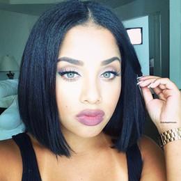 $enCountryForm.capitalKeyWord NZ - Top Quality Yaki Straight Human Hair Short Bob Wigs For Black Women Brazilian Remy Hair Lace Front Human Hair Wigs Bleached Knots
