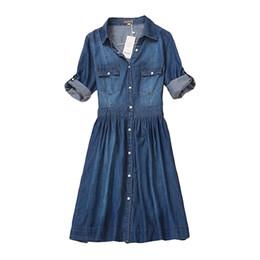 ab25a8fb0c1 high quality autumn denim dress clothing plus size women Jeans dress  elegant spring slim cowboy casual Dresses vestidosY1882302