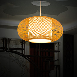 China Modern Bamboo LED Round Pendant Lamp AC 90-260V Cord Pendant E27 Pendant Light Hand Knitted For Living Room Study Hotel Hall G001 cheap round fluorescent lights suppliers
