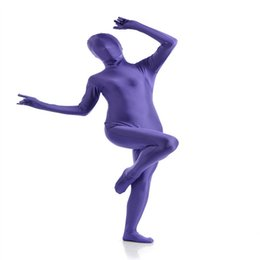 Chinese  (SCF030) Blue Purple Spandex Nylon Lycra Fetish Zentai Suit Full Body Unisex Second Skin Transparent Tight manufacturers