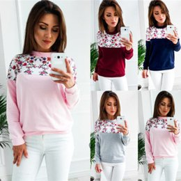 $enCountryForm.capitalKeyWord NZ - 2018 Spring and Autumn Women Floral Pinted Patchwork Hoodies O-Neck Pullover Long Sleeve Polyester Sweatshirts 4Colors Size S-2XL