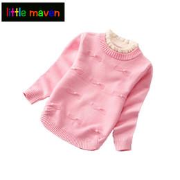 c979f455f Otoño Invierno Lana Niñas Cardigan Cuello alto de algodón Princesa Perla Bebé  niña Ropa para niños Suéter de los niños Camisola Pullover