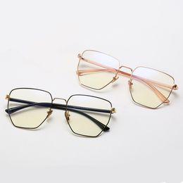 Discount metal myopia frame - Mincl Big frame metal myopia glasses frame irregular comfortable reading glasses graduation optical YXR