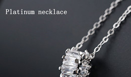 Necklaces Pendants Australia - Transfer cylinder zircon stone clavicular chain short style simple fashion personality necklace for women Platinum zircon pendant