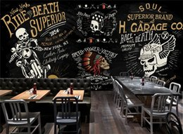 custom graffiti 2019 - Custom Wallpaper European and American Motorcycle Skull Bar Bar KTV Graffiti Mural Background Wall 3d wallpaper mural di