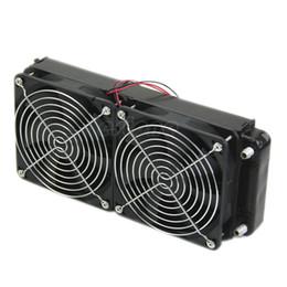 Vente en gros 2 x 120 ventilateur 240MM en aluminium refroidisseur d'ordinateur petit ventilateur de refroidissement PC radiateur noir, radiateur de refroidissement par eau pour ordinateur