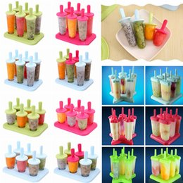 popsicle cartoon 2019 - 14 Colors 6pcs Creatived Ice Cream Popsicle Mold Cooking Tools Round Shaped Reusable DIY Frozen Pop Baking Moulds Cartoo
