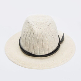 2016 New Fashionable Women Hollow Out Fedoras Double Belt Decoration Linen  Summer Sun hats Khaki Navy blue Black White Pink 1993dc0ade