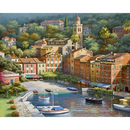 $enCountryForm.capitalKeyWord Australia - DIY pictures by numbers Venice Small Town Boat Home decoration Painting by numbers on canvas Poster painting