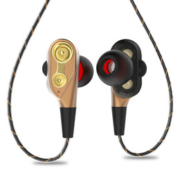 Speaker Ear Australia - 3.5mm HiFi Wired Earphone Dual-Dynamic Quad-core Speaker In-ear earbuds Flexible Cable Anti-wrap with HD Microphone(Gold)