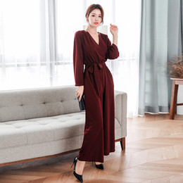 53276e1a8347 Autumn V-neck Lace Up Women Jumpsuit OL Style Pockets Full Sleeve Casual Long  Rompers Fashion Wine Red Playsuits 2018