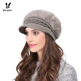 3fe0ba8ad6a VBIGER Women Winter Hat Thickened Peaked Hat Warm Beret Brim Cap Knitted