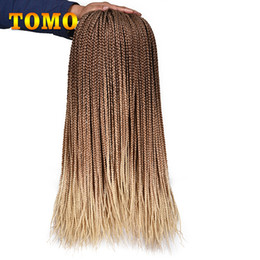24 Inch Synthetic Braiding Hair Australia - TOMO 24 Inch 3x Box Braid Crochet Hair Synthetic Crochet Braids Pure Ombre Black Blonde Purple Gray Braiding Hair Extensions 22 strands pack