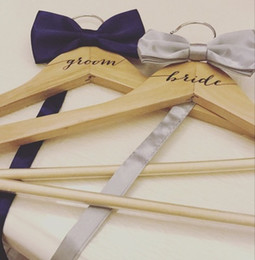 personalized bride gifts Australia - Personalized Wooden Wedding Dress Hanger name Bride Bridesmaid Groom Best man gifts hangers 2pcs lot free shipping
