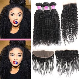 $enCountryForm.capitalKeyWord Canada - 8A Brazilian Kinky Curly Hair 3 Bundles with Closure Free Middle Part Closure Double Weft Human Hair Extensions Weaves Bundles with Frontal