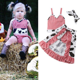 $enCountryForm.capitalKeyWord NZ - 2019 Brand New Toddler Baby Girl Cow Clothes Sets 4PCS Sleeveless Plaid Red Belt Vest Tops+Shorts+Skirts+Headband Outfit 1-5Y