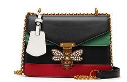 Chinese  2018 Women Color Splicing Little Bee handbag Fashion Zipper designer luxury handbags purses Casual Shoulder Messenger Bag cross body bag 95 manufacturers