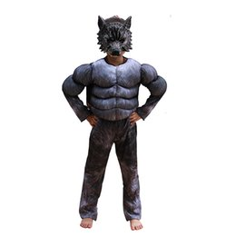 werewolf cosplay 2019 - Kids Halloween Cosplay Costumes Wolf Suits Children School Performance Clothing Props Muscle Werewolf Cosplay Clothes Ki