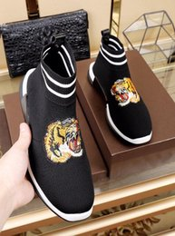 tiger print shoes men Canada - 2018 Original Box High Quality Peak Lazy Men Mesh Casual Shoes Fashion Stockings Shoes Slip-On Breathable Freely Embroidery Tiger Sneakers