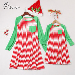 77d267eb3 2018 Brand New Mommy and Me Family Matching Stripe Dress Mother Daughter  Sundress for Kid Women Pocket Patchwork Xmas Dresses