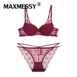 4f8af87dced MAXMESSY New Lace edge Flounce Ladies Sexy Underwear gathered adjustable bra  suit Bra and Panties Sets Slim Underwear B309