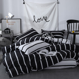Yellow White Bedding Sets Australia - Classic Black White Bed Linens EURO Quilt Cover Flat Sheet Pillowcase Adult Kids Bedding Set Duvet Cover Twin Full Queen King