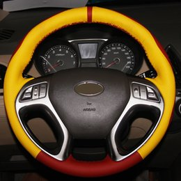 Discount ix35 car cover - Yellow Red Genuine Leather Hand-stitched Car Steering Wheel Cover for Hyundai ix35 Tucson 2 2011-2015