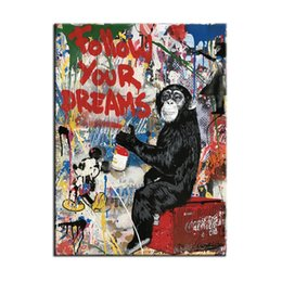 $enCountryForm.capitalKeyWord UK - Banksy Collage Graffiti art - Follow your Dreams Modern Abstract Canvas Oil Painting Print Wall Art Decoration(Unframed Framed)