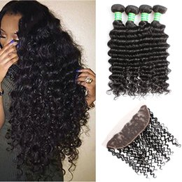 $enCountryForm.capitalKeyWord Australia - 8A Indian Virgin Deep Wave Curly Human Hair Weaves With Closure 4Bundles With Lace Frontal Closures Ear to Ear 13x4 Full Lace Frontals