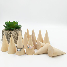 Wholesale Handmade Conical Shape Mini Wooden Stand Jewelry Ring Base Wood Pyramid Block for Ring Display Holder ZA6726