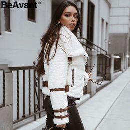 White Short Sleeve Faux Fur Australia - BeAvant Turndown collar teddy jacket coat women Streetwear casual white faux fur coat Zipper sash outerwear winter jacket 2018 S112