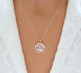 hollow flower pendant NZ - 10pcs Fashion hollow Lotus pendant necklace personalized pretty metal flowers necklace Yoga petal plant flower lotus necklaces jewelry