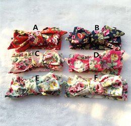Barato Algodão Headwear-6 cores New Coming Girls Kids Cotton Printed Headband Diy Knot Bow Headband para crianças Headwear para crianças 30pcs / Lot